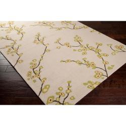 Hand-hooked Tan Astoria Indoor/Outdoor Floral Rug (8' x 10') - Thumbnail 1