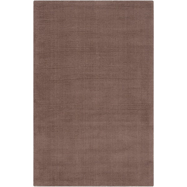 "Hand-crafted Solid Brown Casual Copro Wool Area Rug - 3'3"" x 5'3"""