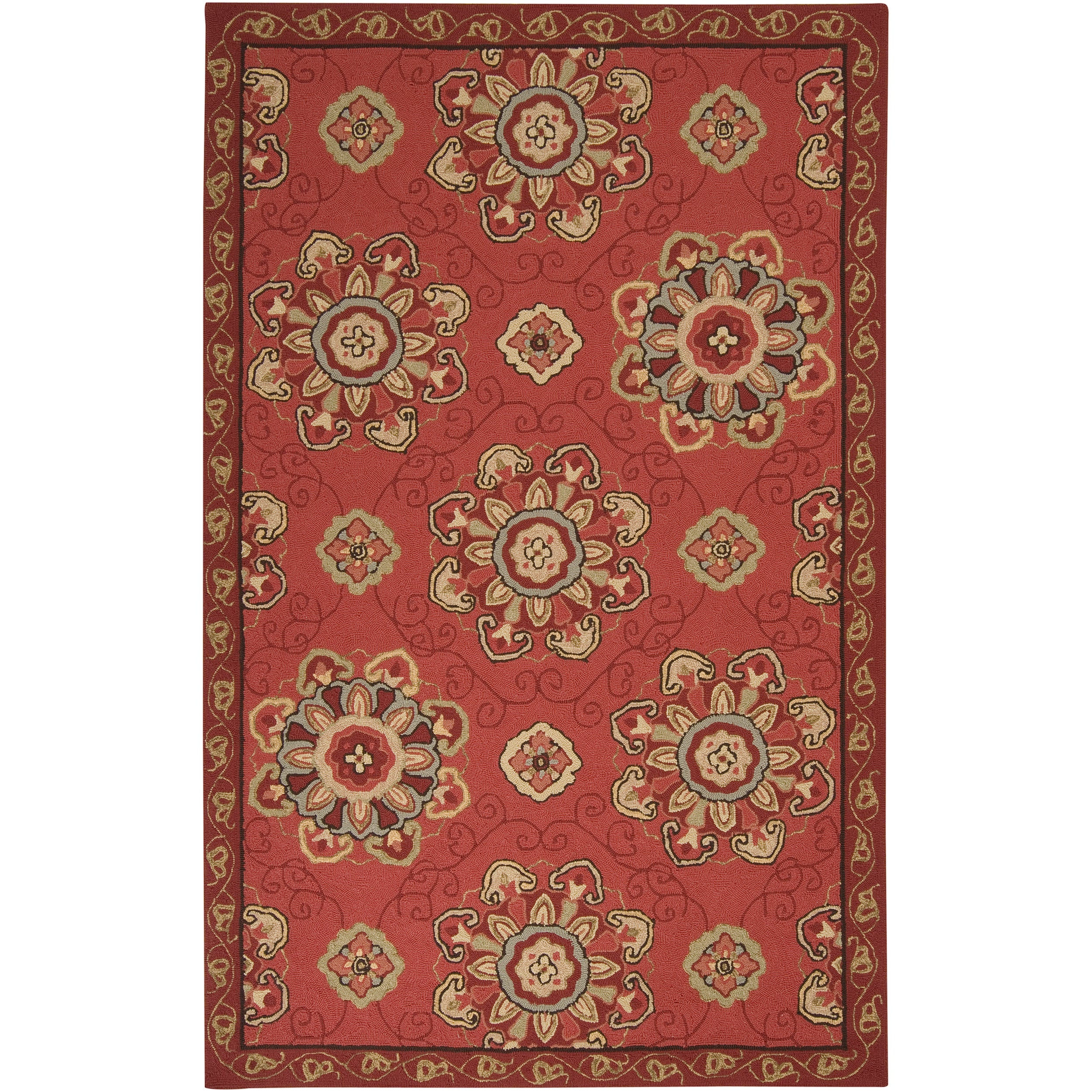 Hand-hooked Burgundy Labradore Indoor/Outdoor Medallion Rug (8' x 10') - Thumbnail 0