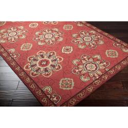 Hand-hooked Burgundy Labradore Indoor/Outdoor Medallion Rug (8' x 10') - Thumbnail 1