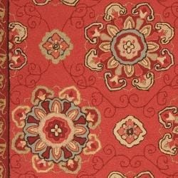 Hand-hooked Burgundy Labradore Indoor/Outdoor Medallion Rug (8' x 10') - Thumbnail 2