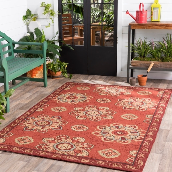 Hand-hooked Burgundy Labradore Indoor/Outdoor Medallion Area Rug - 8' x 10'