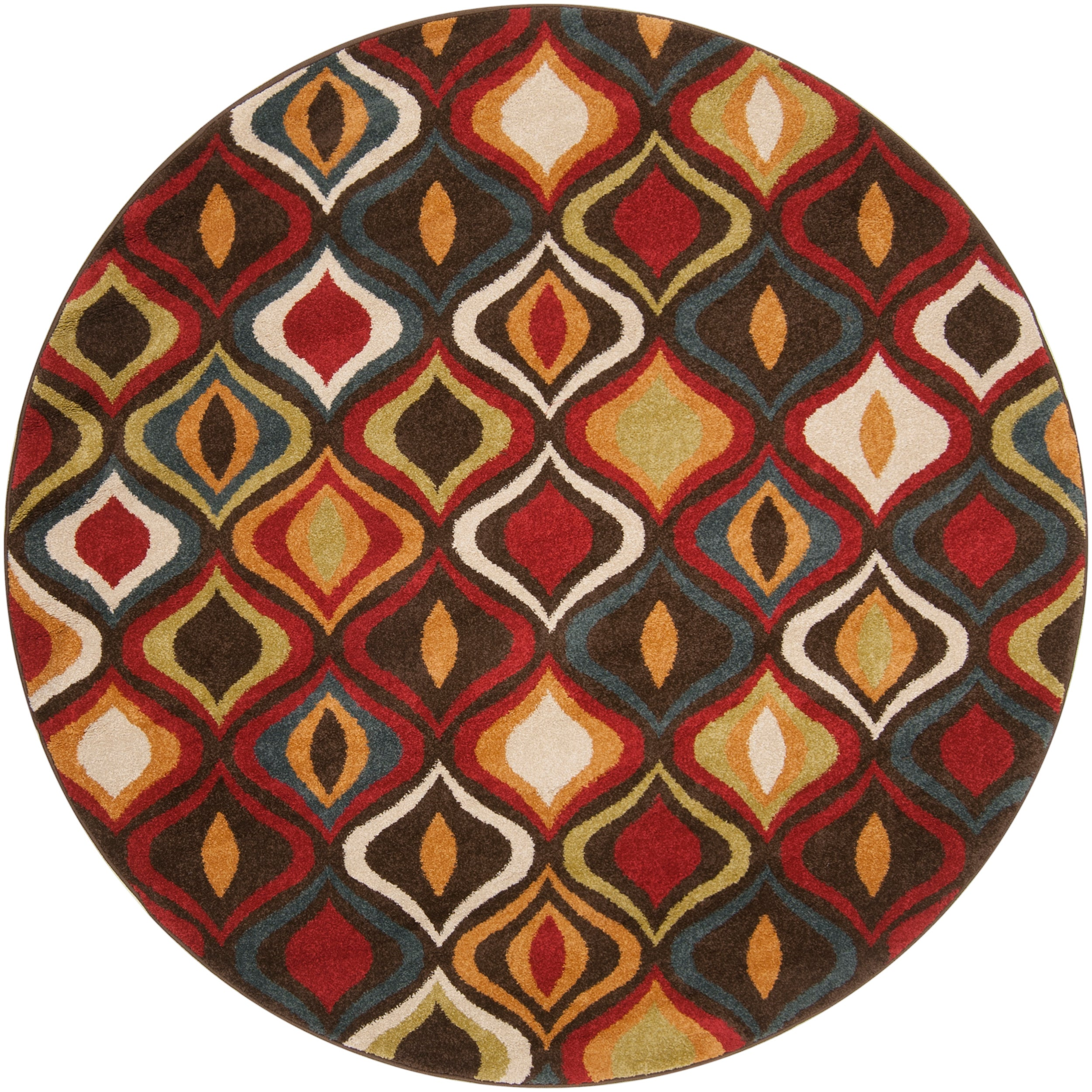 Meticulously Woven Contemporary Red/Brown Medallion Katell Abstract Rug (6'7 Round)