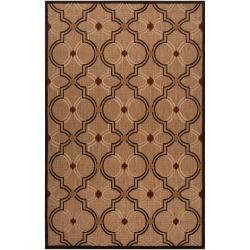 Woven Brown Allusion Indoor/Outdoor Moroccan Lattice Rug (3'9 x 5'8)