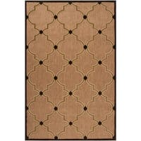 Woven Tan Remington Indoor/Outdoor Moroccan Lattice Area Rug - 3'9 x 5'8