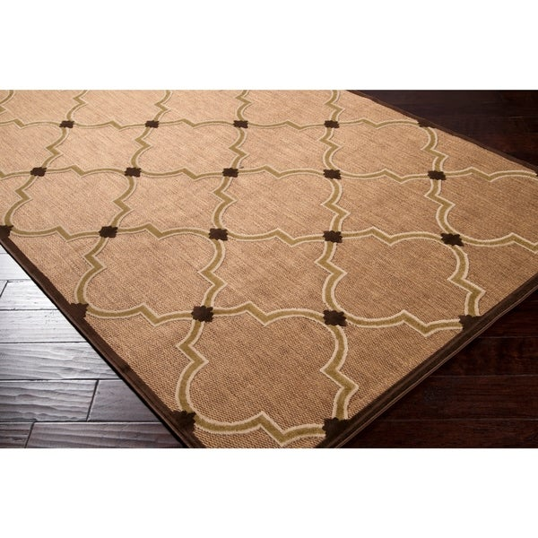 Woven Tan Remington Indoor/Outdoor Moroccan Lattice Area Rug - 2'6 x 7'10