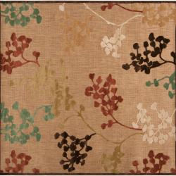 Woven Tan Zynx Indoor/Outdoor Floral Rug (7'6 Square)