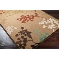 Woven Tan Zyn x Indoor/Outdoor Floral Area Rug - 7'6