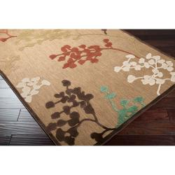 Woven Brown Zynx Indoor/Outdoor Floral Rug (3'9 x 5'8) - Thumbnail 1