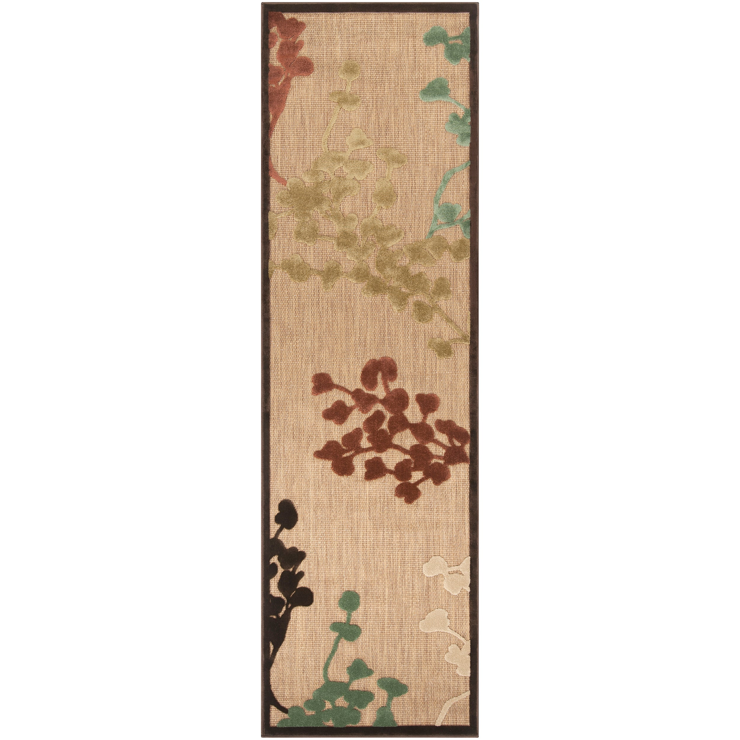 Woven Brown Zynx Indoor/Outdoor Floral Rug (2'6 x 7'10)