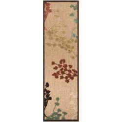 Woven Brown Zynx Indoor/Outdoor Floral Rug (2'6 x 7'10)