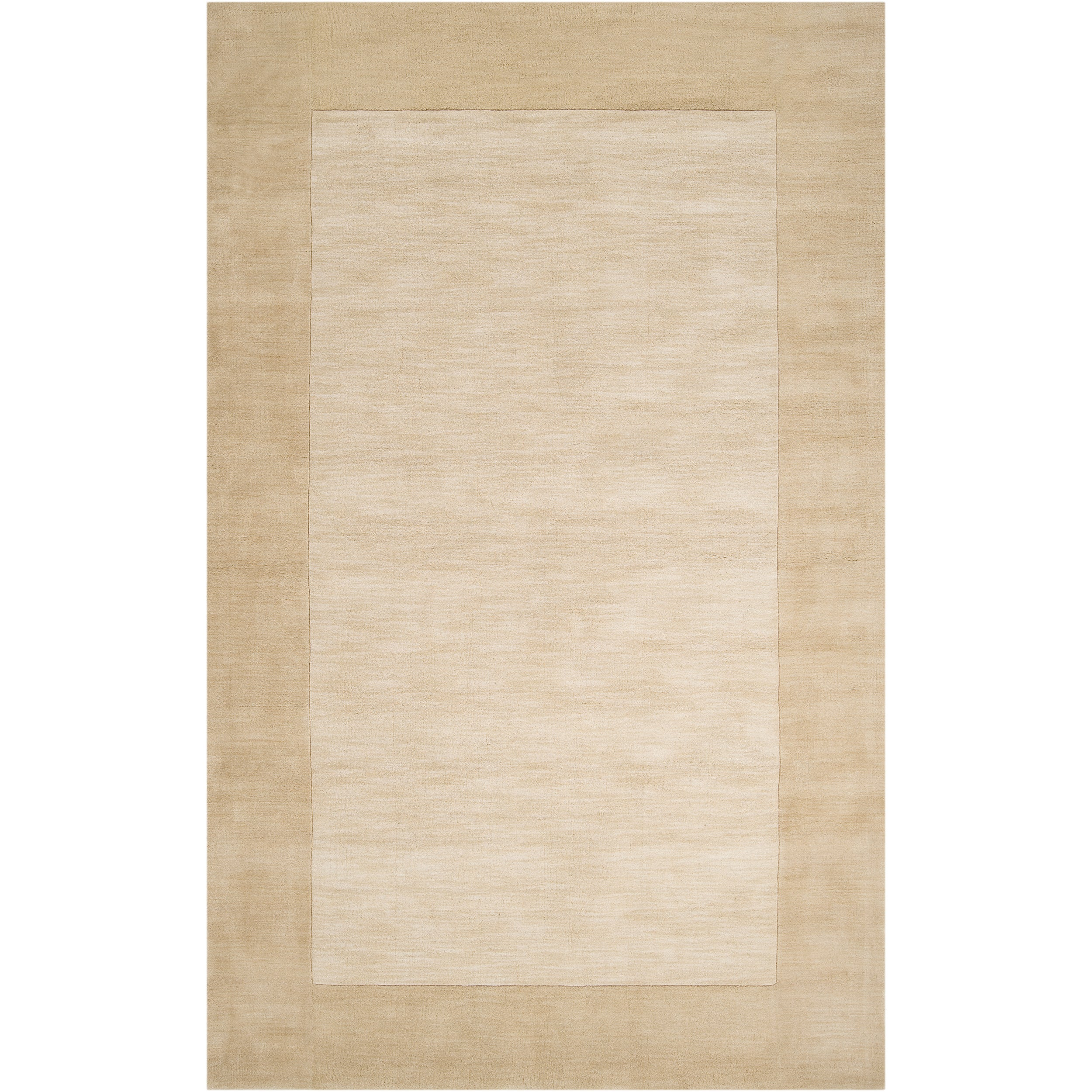 Hand-crafted Beige Tone-On-Tone Bordered Disposo Wool Area Rug (7'6 x 9'6)