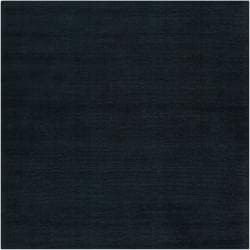 Hand-crafted Navy Blue Solid Causal Doxo Wool Rug (8' Square)