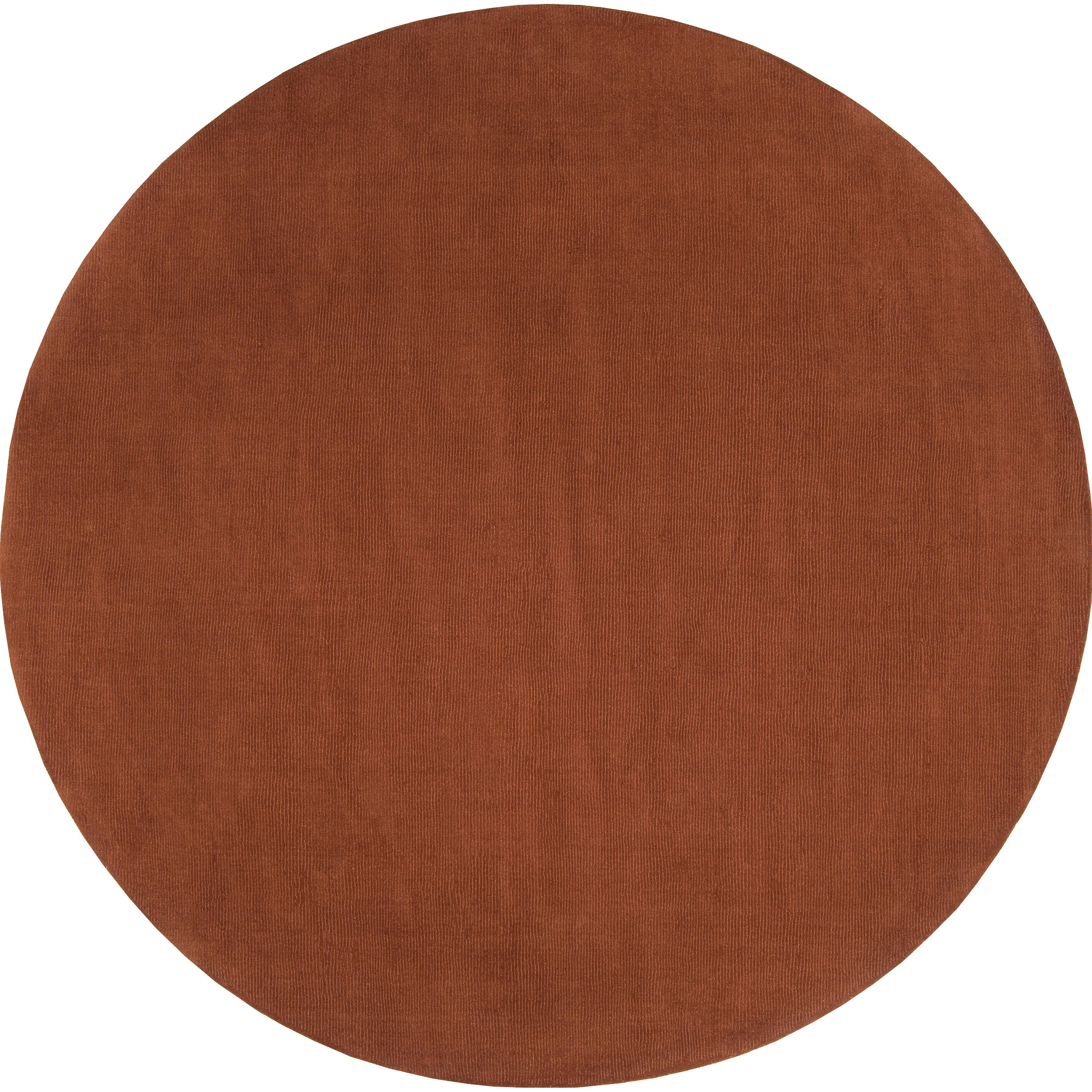 Hand-crafted Brown Solid Casual Dora Wool Rug (8' Round)