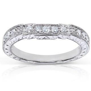 Annello by Kobelli 14k White Gold 1/4ct TDW Diamond Curved Wedding Band