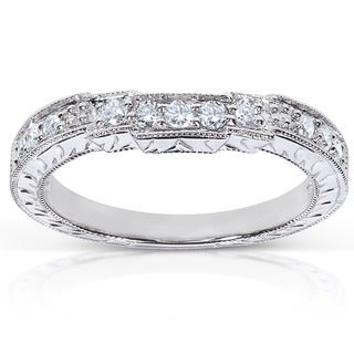 Annello by Kobelli 14k White Gold 1/4ct TDW Diamond Curved Wedding Band (G-H, I1-I2)