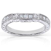 Annello by Kobelli 14k White Gold 1/4ct TDW Diamond Curved Wedding Band
