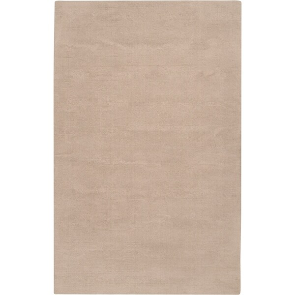 Hand-crafted Beige Solid Casual Dipson Wool Area Rug - 6' x 9'