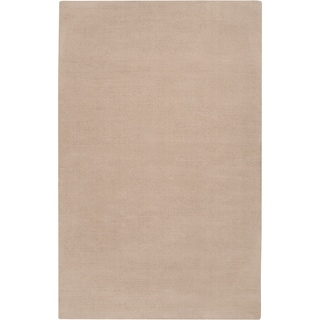 Hand-crafted Beige Solid Casual Dipson Wool Area Rug - 6' x 9'/Surplus
