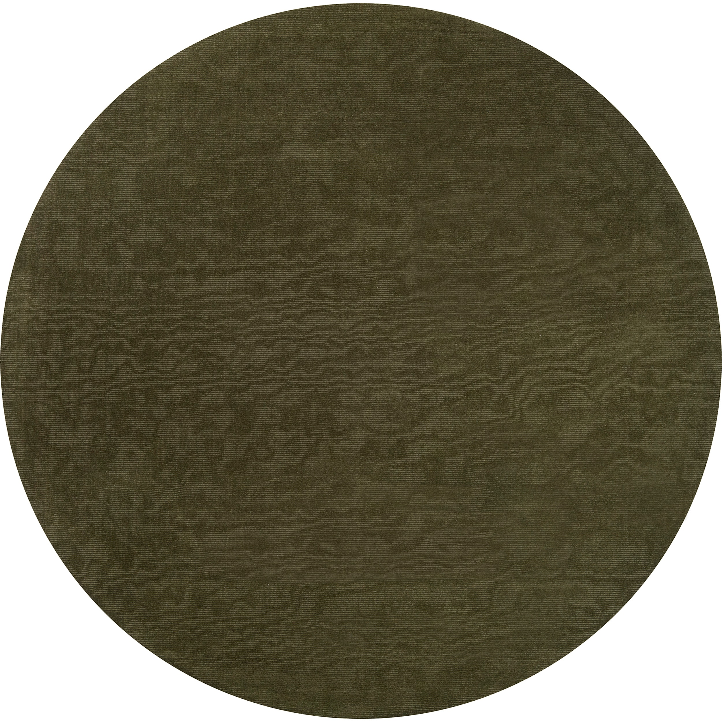 Hand-crafted Solid Dark Green Tone-On-Tone Bordered Dermato Wool Rug (6' Round)