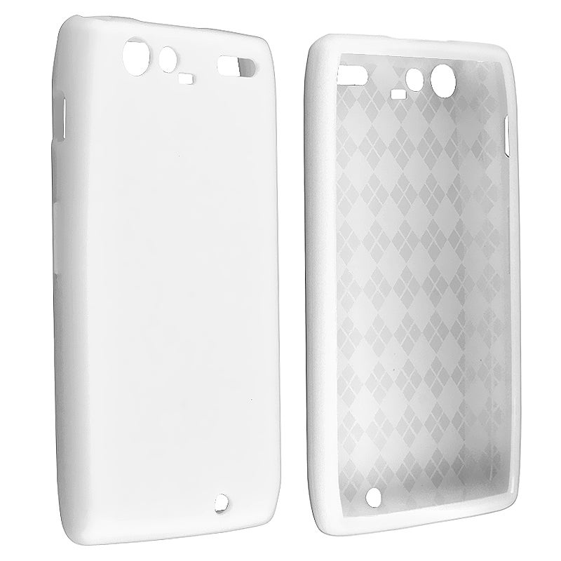 White TPU Rubber Skin Case for Motorola Droid RAZR Maxx XT916