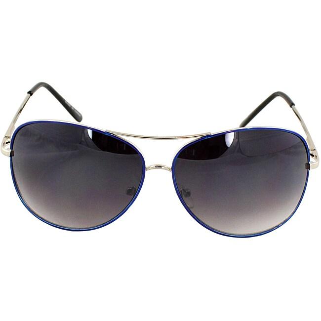 Blue Aviator Sunglasses with Purple-black Lenses