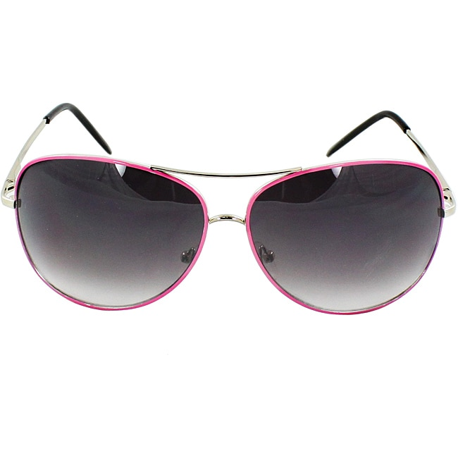 Women's Pink Metal Aviator Sunglasses