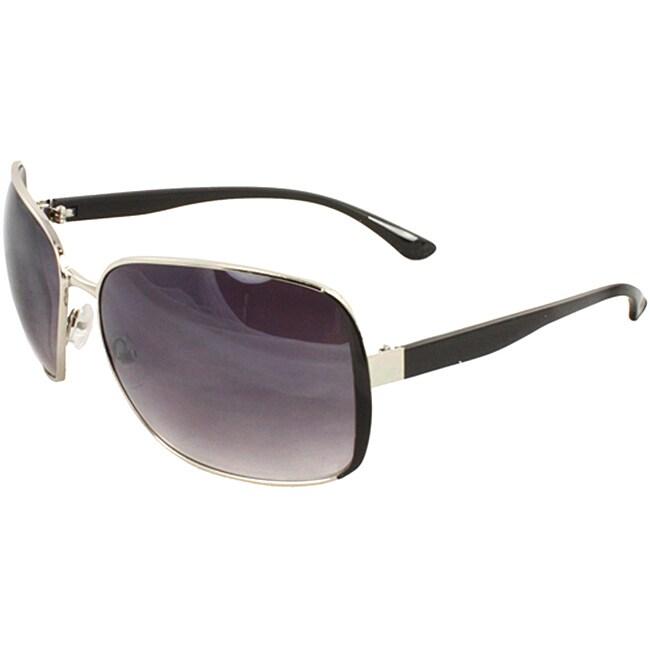 Unisex Black/ Silver Square Sunglasses