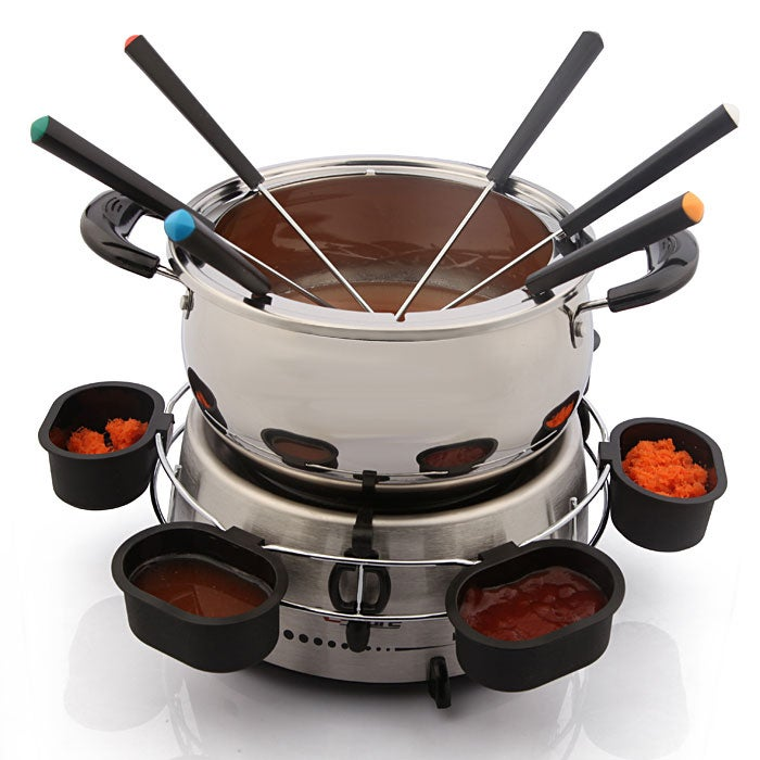 E Ware Electric Stainless Steel Fondue Pot Set Free