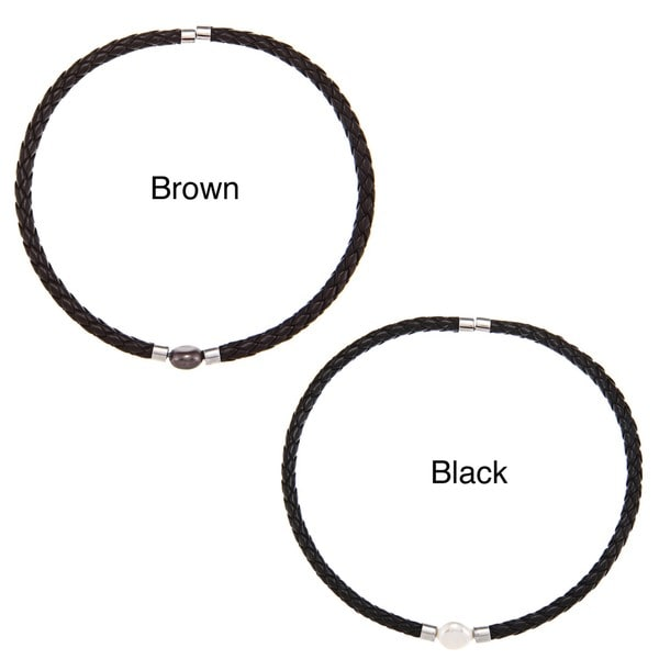 DaVonna Black Braided Leather and Freshwater Pearl 15.5-inch Choker Necklace