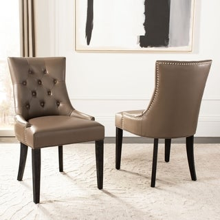 Safavieh En Vogue Dining Abby Leather Nailhead Dining Chairs (Set of 2)