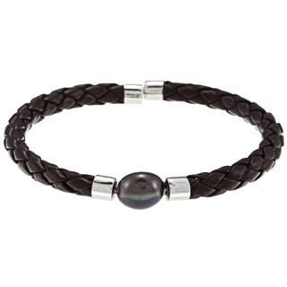 DaVonna White Freshwater Pearl Braided Leather Bracelet (9-10 mm)