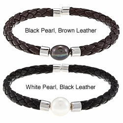 DaVonna White FW Pearl Braided Leather Bracelet (9-10 mm)