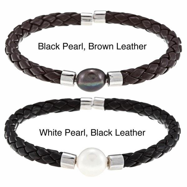 DaVonna White FW Pearl Braided Leather Bracelet (9-10 mm)