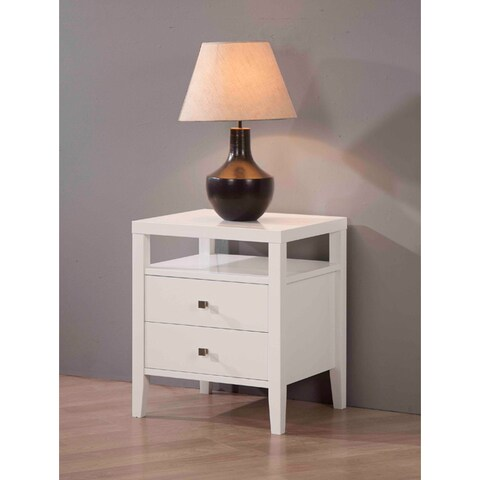 Jasper Laine Aristo White 2-drawer Nightstand