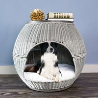 The Refined Caninen Brown Fauz Rattan Hand-woven Deluxe Igloo Pet Bed