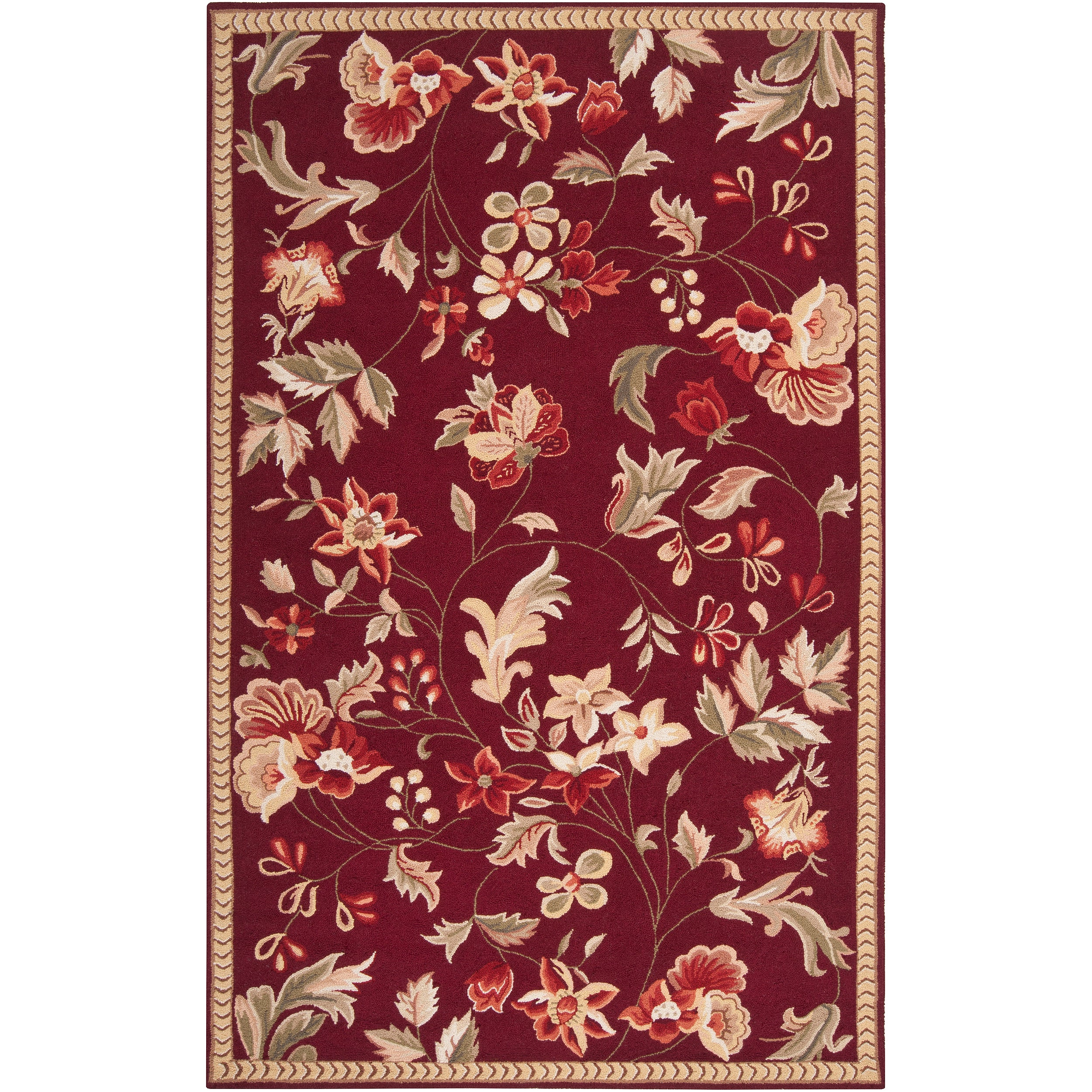Hand-hooked Red Amedeo Wool Rug (3'6 x 5'6)
