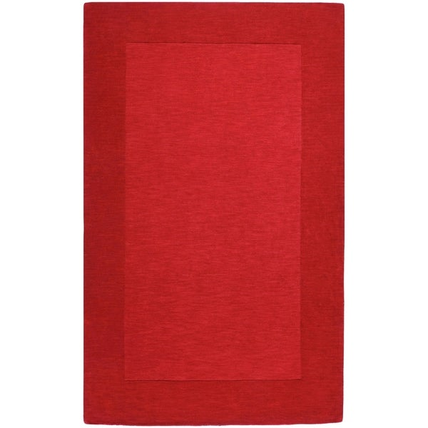 Hand-crafted Solid Red Tone-On-tone Bordered Cryo Wool Area Rug - 5' x 8'