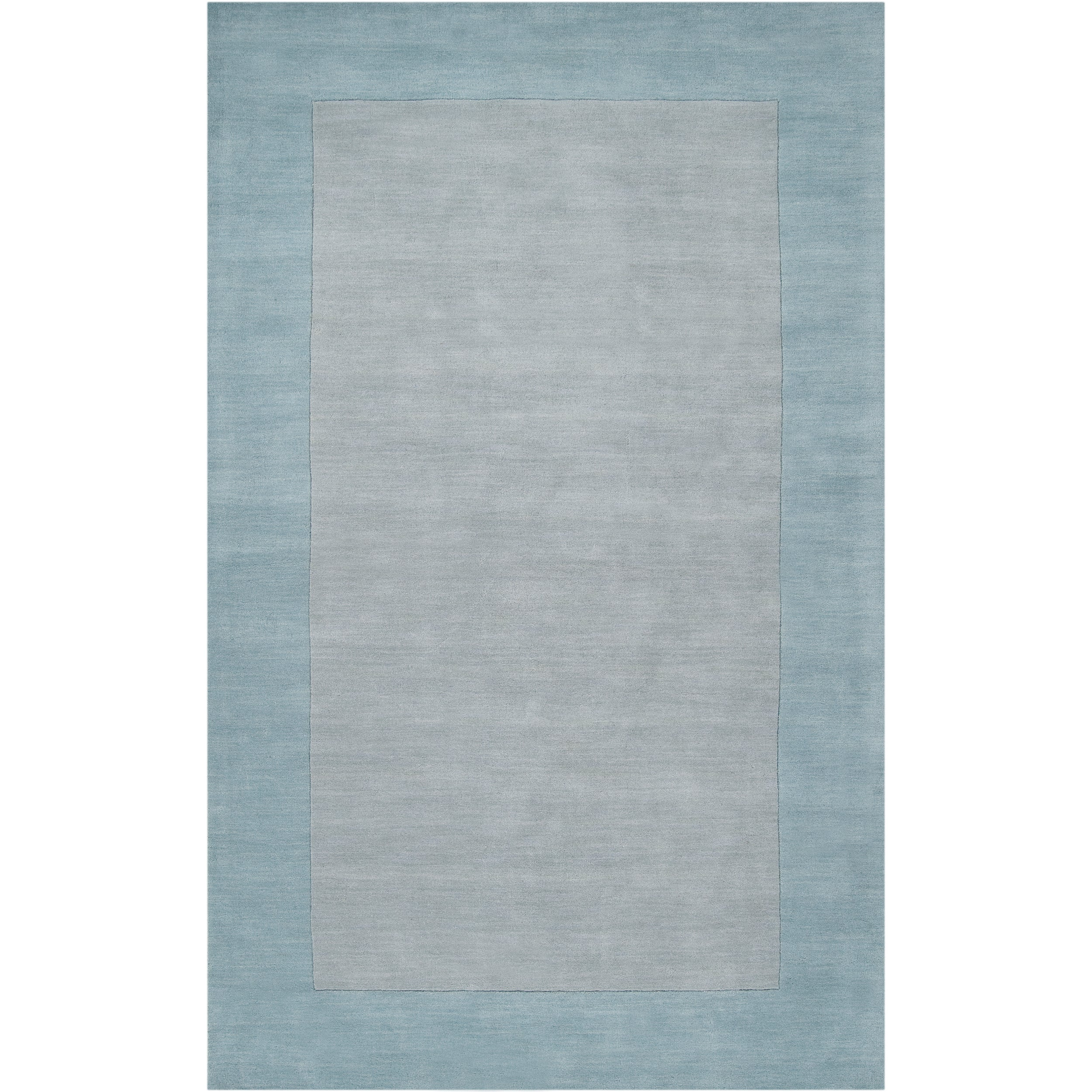 Hand-crafted Light Blue Tone-On-Tone Bordered Decido Wool Area Rug (9' x 13')