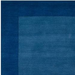 Hand-crafted Blue Tone-On-Tone Bordered Defaceal Wool Rug (9' x 13')