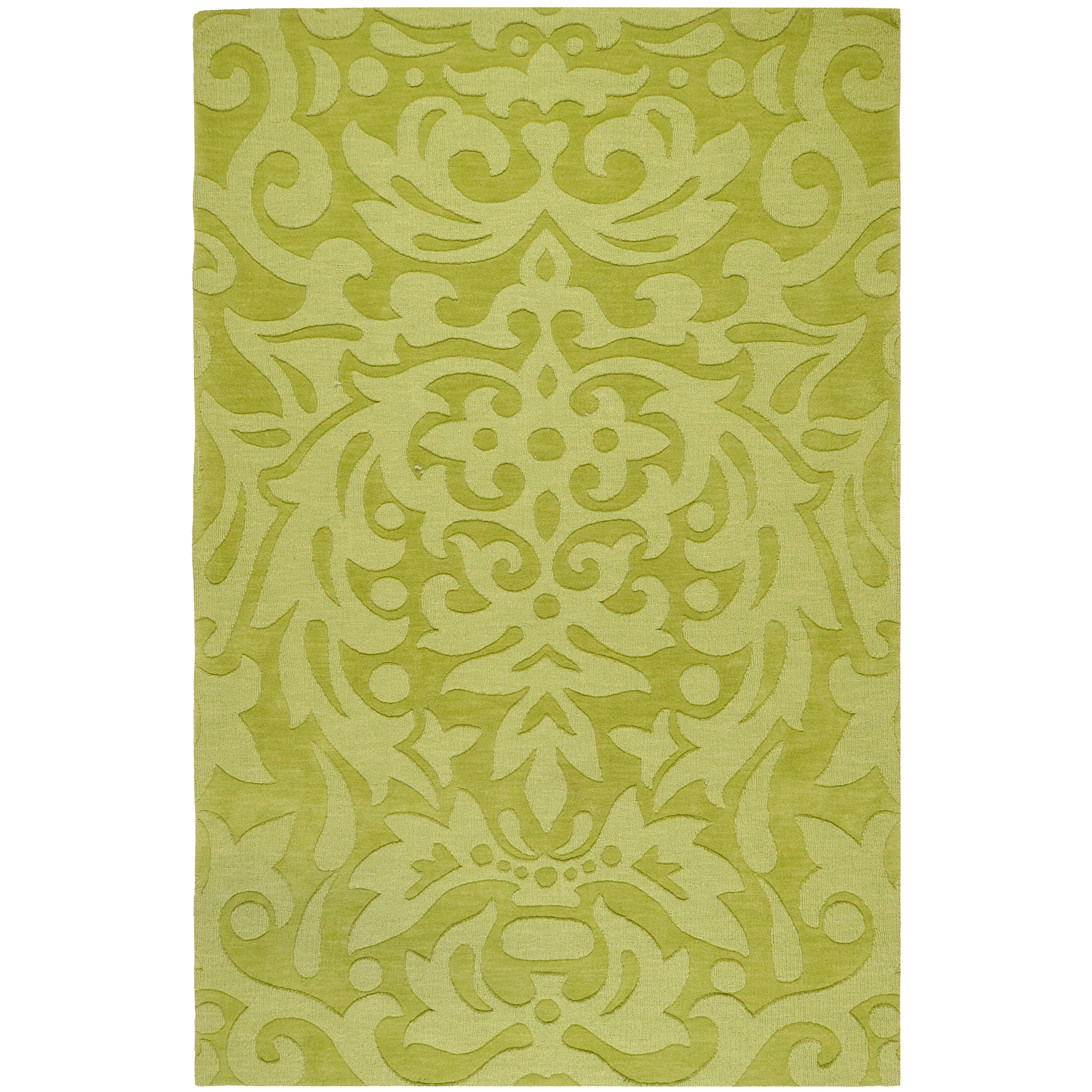 Hand-crafted Green Damask Dendro Wool Rug (8' x 11')