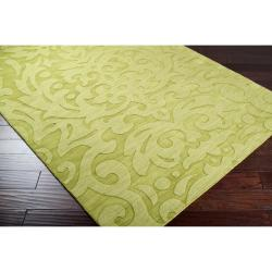 Hand-crafted Green Damask Dendro Wool Rug (8' x 11') - Thumbnail 1