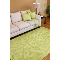 Hand-crafted Green Damask Dendro Wool Rug (8' x 11') - Thumbnail 2
