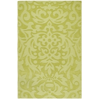 Hand-crafted Green Damask Dendro Wool Area Rug - 8' x 11'