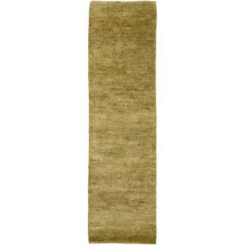 """Illyengo-268 Hand-woven Green Natural Fiber Hemp Runner Rug - 2'6"""" x 8' Runner"""