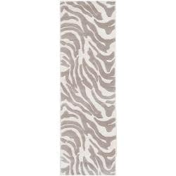 Hand-tufted Zebra Animal Print Ihypallop Wool Rug (2'6 x 8')
