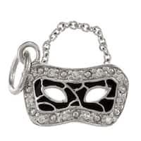 La Preciosa Sterling Silver CZ and Black Enamel Mask Charm