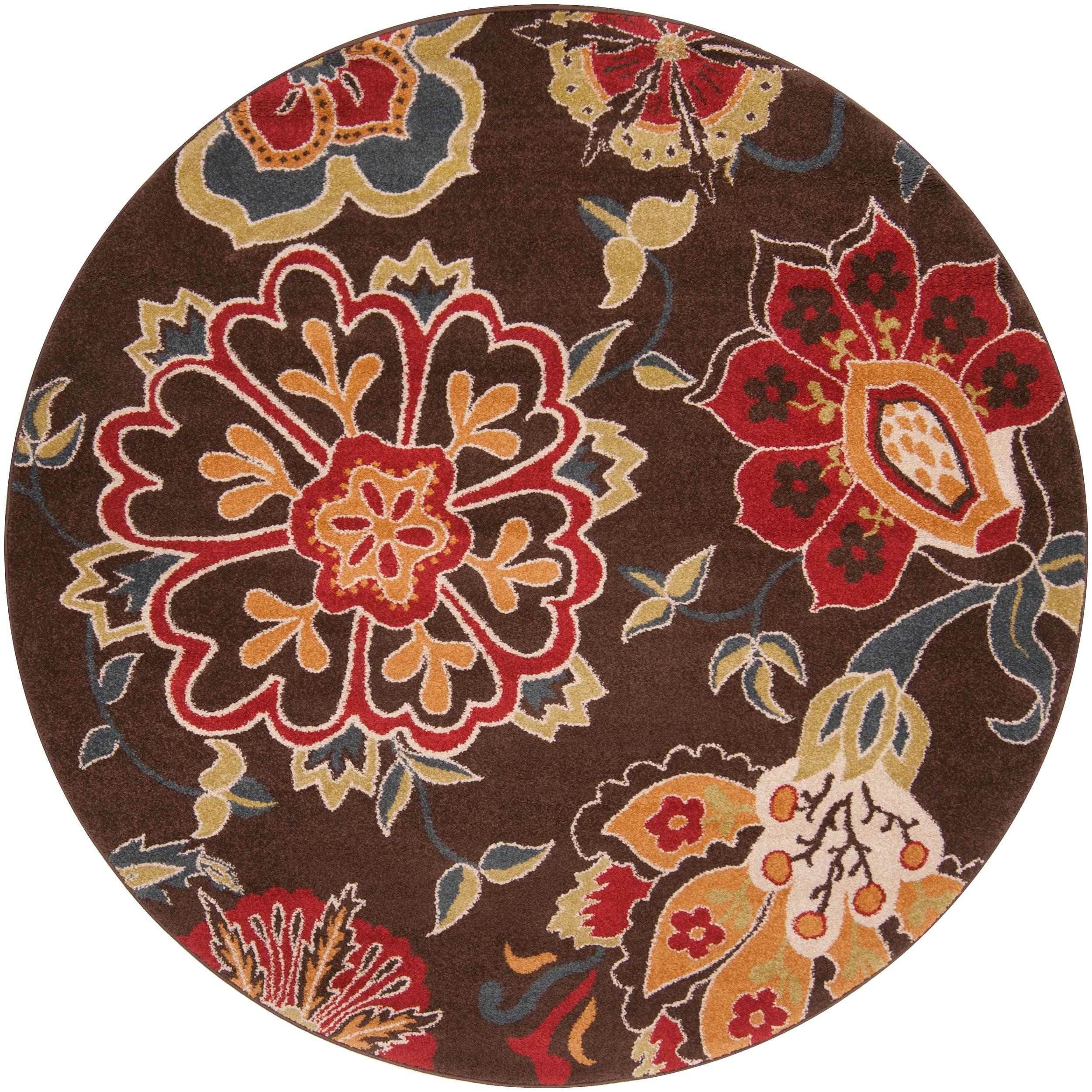 Contemporary Brown Floral Kosmik Area Rug 6 7 Free