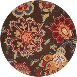 Meticulously Woven Contemporary Brown Floral Kosmik Rug (6'7 Round)