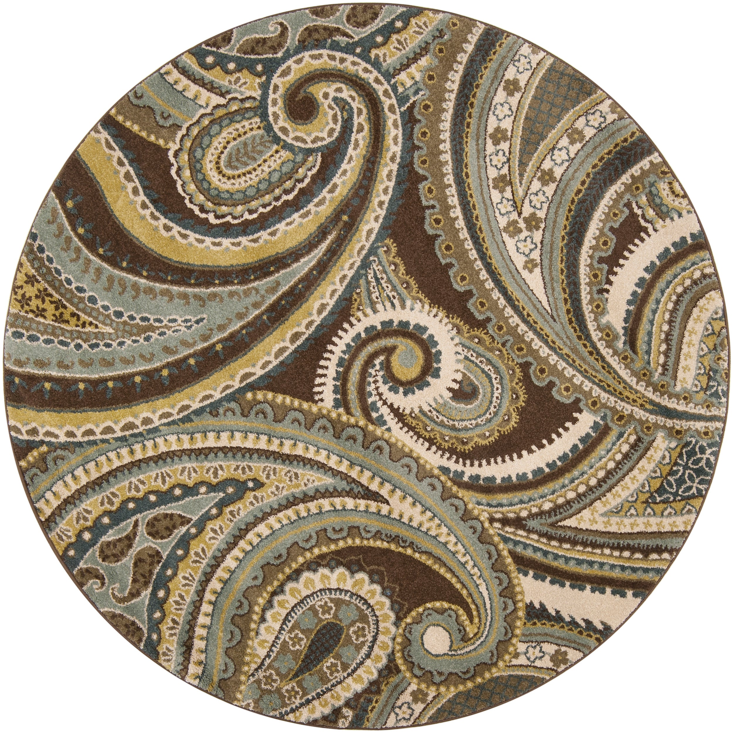 Meticulously Woven Contemporary Brown Green Paisley Floral